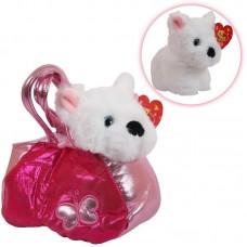 Животные в сумочках. Собачка белая 16 см, игрушка мягкая