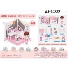 Модульный домик (собери сам), 1 секция. Мини-кукла в спальне, в наборе с аксессуарами