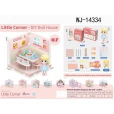 Модульный домик (собери сам), 1 секция. Мини-кукла в столовой, в наборе с аксессуарами
