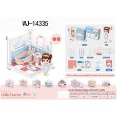 Модульный домик (собери сам), 1 секция. Мини-кукла в ванной комнате, в наборе с аксессуарами