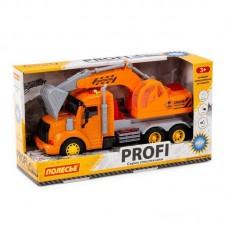 Машинка инерционная Полесье PROFI Экскаватор оранжевый, со светом и звуком (в коробке)