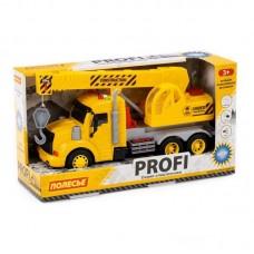 Машинка инерционная Полесье PROFI Кран желтый, со светом и звуком (в коробке)