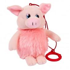 Свинка пушистая озвученная, 16 см., с карабином
