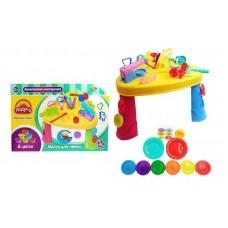 """Набор """"Креативная мастерская"""", масса для лепки, 6 баночек разных цветов в наборе со столом и тематическими аксессуарами, 36 предметов"""