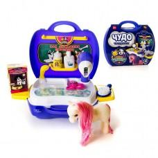 """Набор для ухода за домашним питомцем (с лошадкой) """"Чудо-чемоданчик"""", 16 предметов (ABtoys. Чудо-чемоданчик, PT-00464)"""
