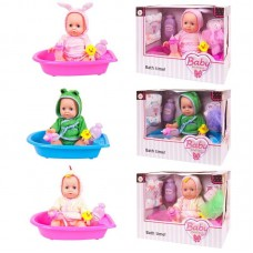 Кукла-пупс 25 см ПВХ, пьет и писает, в ассортименте 3 вида (розовая и голубая)