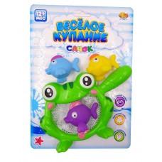 """Резиновые игрушки для ванной """"Веселое купание"""", в.наборе 4 шт. (3 рыбки и лягушка-сачок)"""
