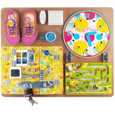 Бизиборд для девочек ( 40х50,пазлы,шнур.,магн.часы,лабиринт)