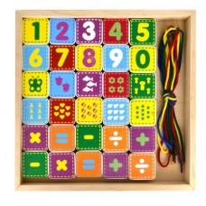 Деревянный конструктор «Шнуровка цифры», 30 деталей, 4 шнурка, деревянная коробка 265*225*35 (Alatoys, КШЦ3003)