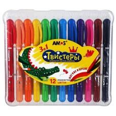 Набор карандашей 3 в1 (фломастер-пастель-акварель) Твистер, 12 водорастворимых цветов в пластиковой упаковке