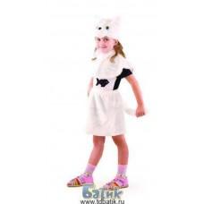 """Костюм карнавальный """"Кошка"""" белая (маска, пелерина, юбка) мех, размер 28 (Батик, 109-28)"""