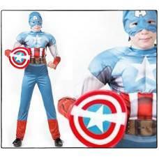 Костюм карнавальный Капитан Америка. Мстители.(комбинезон, маска, щит) (Зв. маскарад) Марвел размер 32