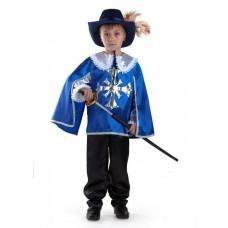 "Костюм карнавальный ""МУШКЕТЕР"" синий (плащ, брюки, шляпа, шпага) (текстиль) размер 26"