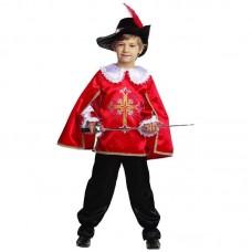 Костюм карнавальный МУШКЕТЁР (текстиль) красный размер 30 (детский)