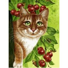 Раскраски по номерам. Кот на вишнёвом дереве