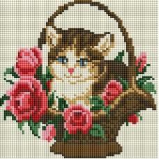 Мозаика алмазная на раме Котёнок в корзинке 20*20 см
