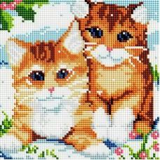 Мозаика алмазная на раме Рыжие котята 20*20 см