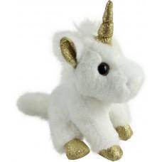 Единорог белый с золотыми копытами, ушками и рогом, 15 см.
