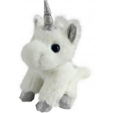 Единорог белый с серебряными копытами, ушками и рогом, 15 см.