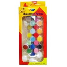 KK002/Краски акриловые - набор 25 цветов+лак