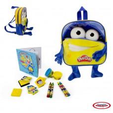 Набор Play doh Рюкзачок для мальчика с плюшевыми ручками и ножками, 4 марки, блокнот, 4 восковых мелка, книжка для раскрасок, 2 цвета пасты для лепки. (D`arpeje Toys`n`fun, CPDO090)