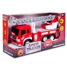 Машина Пожарная (с лестницей), 1:16, от 3-х лет, инерционная, световые и звуковые эффекты, 28.5x8.5x16см (Dave Toy Ltd., 33015)