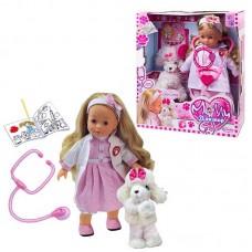 Интерактивная кукла 40 см Bambolina Молли доктор (частично мягконабивная) со стетоскопом и собачкой (DIMIAN, BD1384RU-M37)