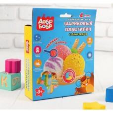 Набор шарикового пластилина мелкозернистый с блестками - 4 цвета