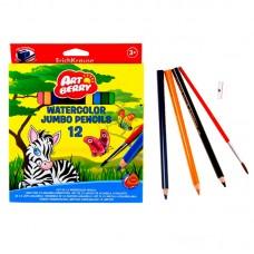 Artberry. Акварельные карандаши Jumbo с точилкой и кисточкой, 12 цветов (ErichKrause, 32477AB)