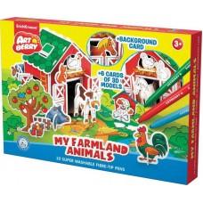 Набор игровой 3D пазл для раскрашивания Мои животные фермы (Artberry My Farmland Animals): 10 фломастеров + 6 карточек с фигурками для сборки + игров