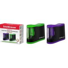 Точилка электрическая ErichKrause® Compact с контейнером, цвет корпуса ассорти