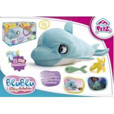 Дельфин BluBlu интерактивный, со звуковыми эффектами, шевелит глазами и ртом, можно его кормить и уложить спать, реагирует на голос, мягконабивной