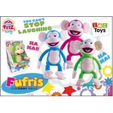 Обезьянка Fufris интерактивная, смеётся и подпрыгивает, звуковые эффекты, в ассортименте 3 цвета, мягконабивная