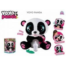 Панда Yoyo интерактивная, со звуковыми эффектами, шевелит глазами и ртом, можно его кормить и уложить спать, реагирует на голос и на щекотку