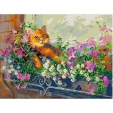 Живопись на холсте 30*40 см Любимый кот на отдыхе