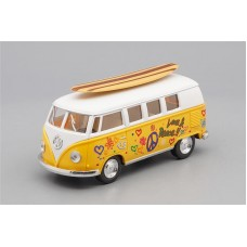 Машинка Kinsmart VOLKSWAGEN Classical Bus Surfboard (1962), yellow / white