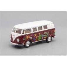 Машинка Kinsmart VOLKSWAGEN Classical Bus Peace and Love (1962), white / vinous