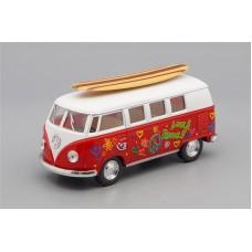 Машинка Kinsmart VOLKSWAGEN Classical Bus Surfboard (1962), red / white