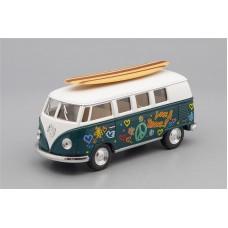 Машинка Kinsmart VOLKSWAGEN Classical Bus Surfboard (1962), green / white