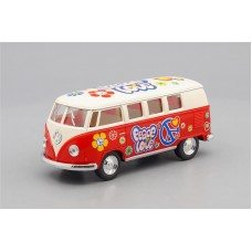 Машинка Kinsmart VOLKSWAGEN Classical Bus Peace and Love (1962), beige / red