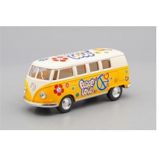 Машинка Kinsmart VOLKSWAGEN Classical Bus Peace and Love (1962), beige / yellow