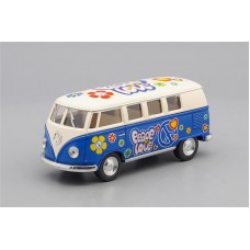 Машинка Kinsmart VOLKSWAGEN Classical Bus Peace and Love (1962), beige / blue