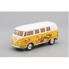 Машинка Kinsmart VOLKSWAGEN Classical Bus Peace and Love (1962), white / light yellow