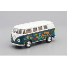 Машинка Kinsmart VOLKSWAGEN Classical Bus Peace and Love (1962), white / green