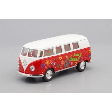 Машинка Kinsmart VOLKSWAGEN Classical Bus Peace and Love (1962), white / red