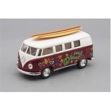 Машинка Kinsmart VOLKSWAGEN Classical Bus Surfboard (1962), brown / white