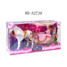 Карета для принцессы с лошадью со световыми эффектами, в наборе с куклой, в коробке (Китай, 209A)