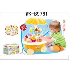 Набор Мини передвижная тележка-прилавок с мороженым, световые и звуковые эффекты, 39 предметов в наборе, 27x19x21см (Китай, 668-26)