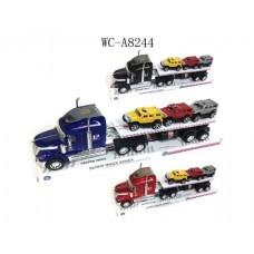 Автовоз инерционный, со световыми и звуковыми эффектами, в наборе с 3 машинками  (Китай, 729-1B)