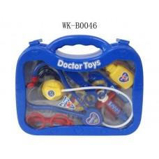 Набор доктора, 13 предметов в наборе (стетоскоп, зеркало, ножницы, игла, ложка, 2 бутылочки, тарелка, ножи, термометр, микроскоп, лампа, щипцы), (Китай, 7757A)